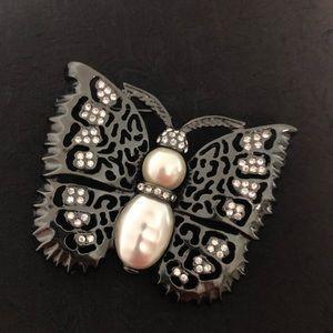 Large Butterfly Brooch Faux Pearls Rhinestones
